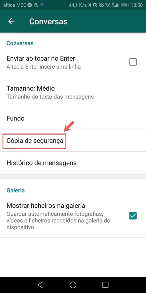 WhatsApp Google Drive cópias de segurança Android dica
