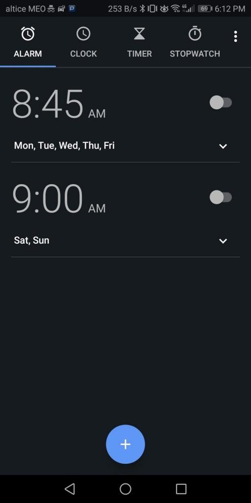 Android Spotify Relógio música despertador