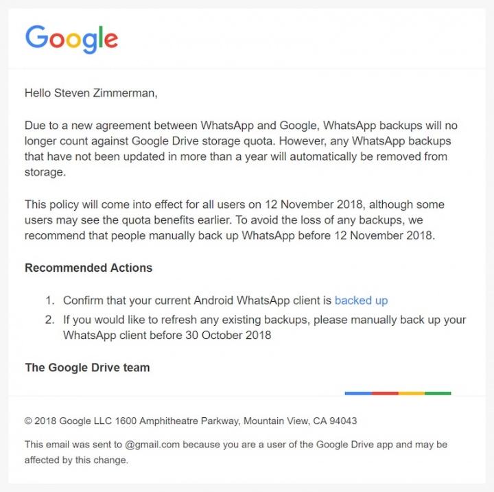 WhatsApp cópias de segurança Android Google Drive