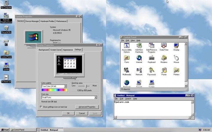 Windows 95 está disponível para Linux, Mac e    Windows