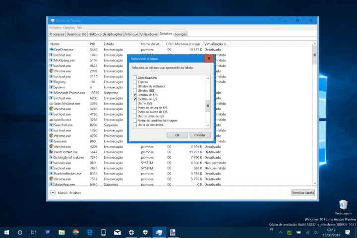 Windows 10 apps disco leitura escrita