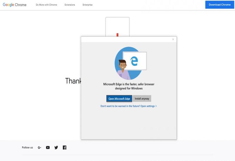 A Microsoft não quer que instale o Chrome ou o Firefox no