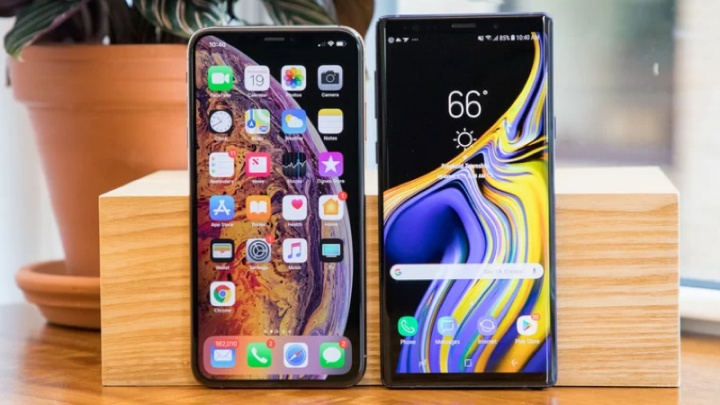 iPhone XS Max Galaxy Note9 velocidade teste