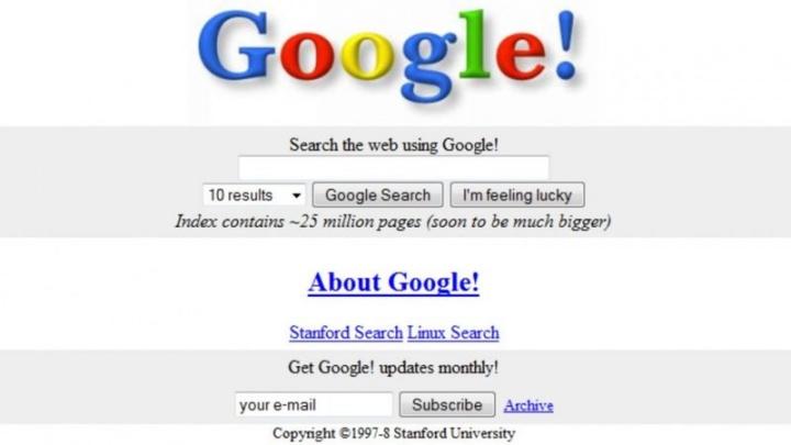 Imagem do Google Search nos sues inícios