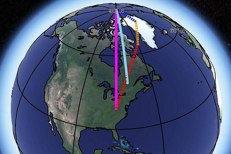 36751f69 O degelo na Gronelândia (linha azul tracejada), derretimento dos glaciares  (linha amarela) e a convecção na camada do manto (linha vermelha).