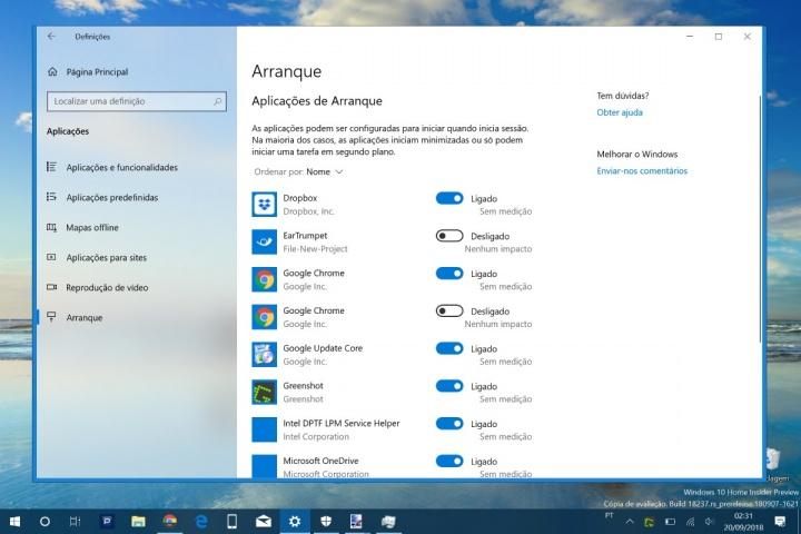 Windows 10 arranque Gestor de Tarefas Definições apps