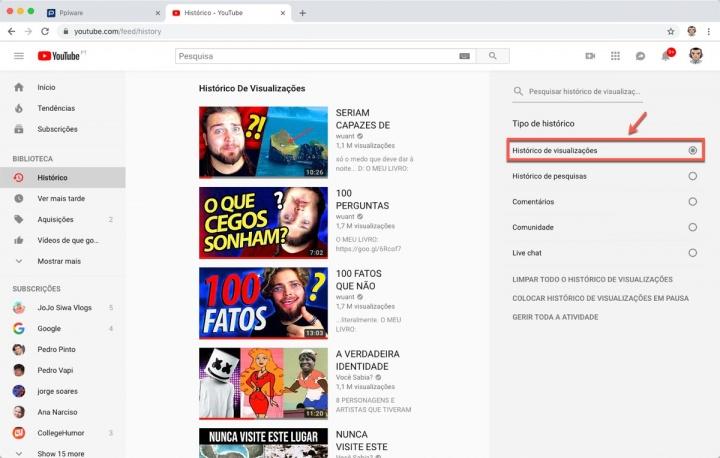 YouTube Google histórico visualizações pesquisas