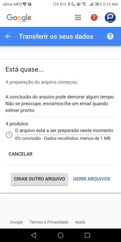 Google Google+ exportar dados
