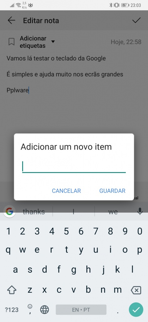 Gboard da Google área de transferência texto
