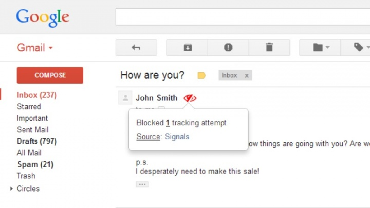 PixelBlock Gmail mensagens leitura