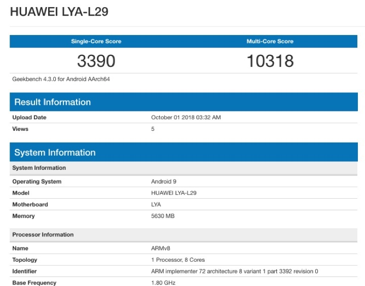 Huawei Kirin 980 Mate 20 Pro benchmark