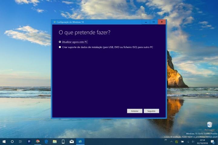 Media Creation Tool Windows 10 Microsoft atualização de outubro
