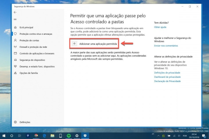 Windows 10 Windows Defender ransomware proteção app