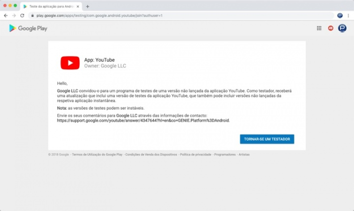 YouTube Beta Android teste dica