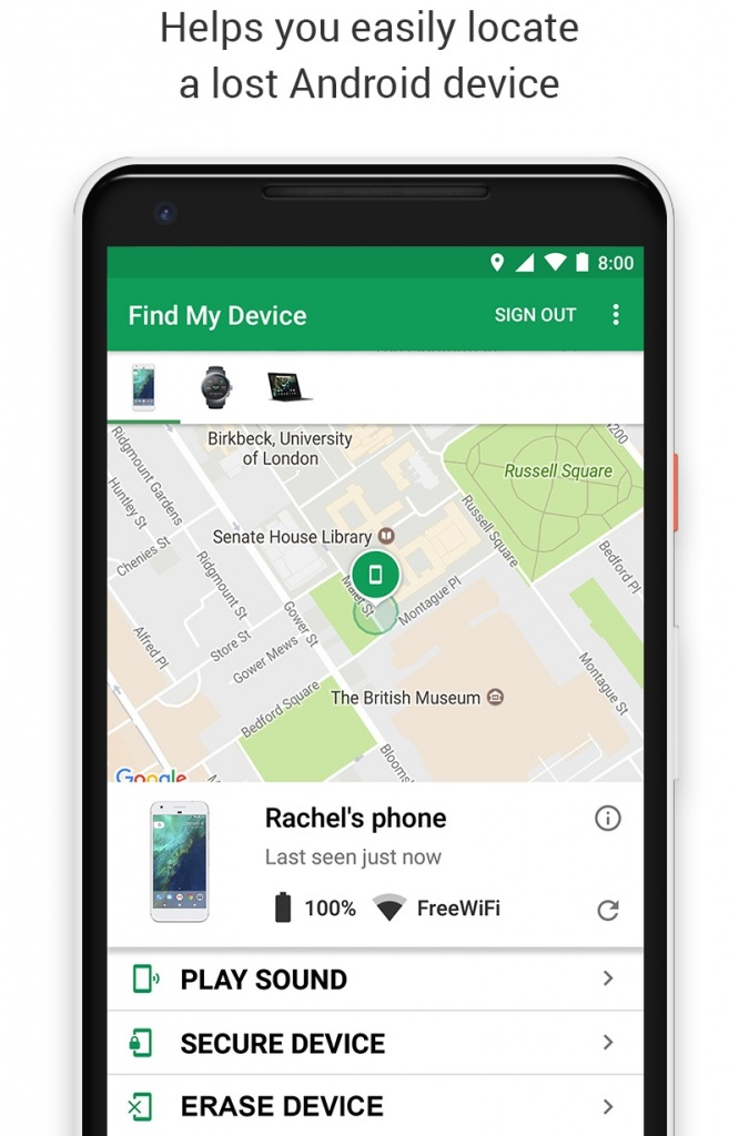 Android smartphone Google edifícios Find My Device