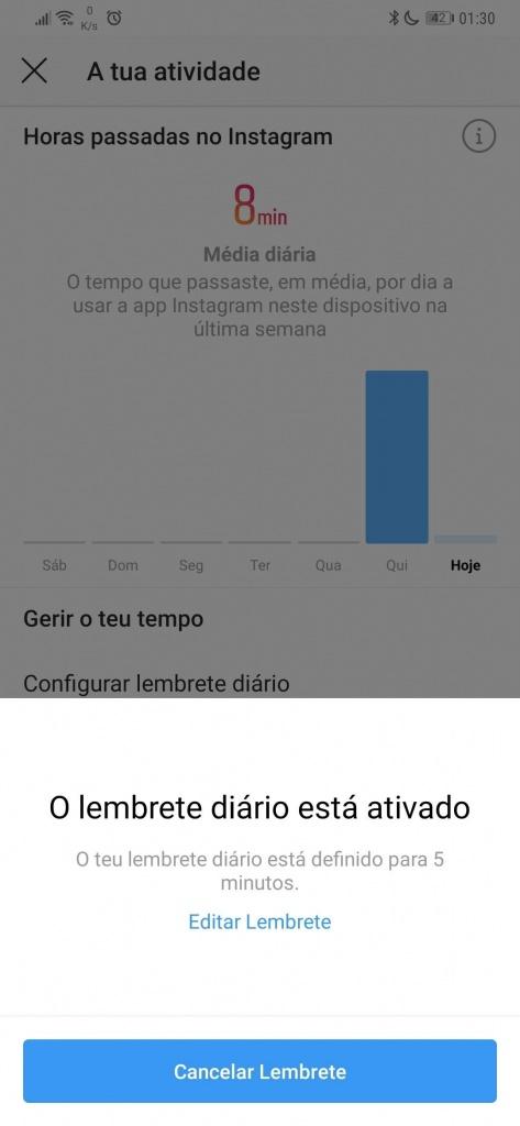 Instagram controlo tempo utilização dica