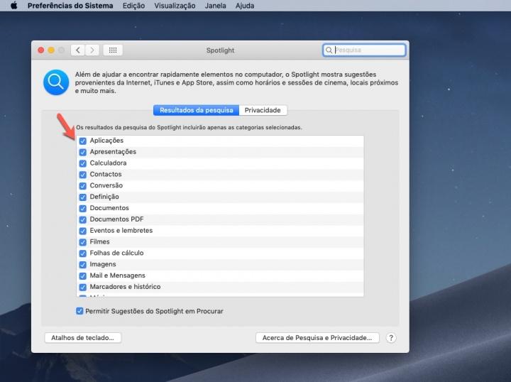 Spotlight macOS pesquisa configurar resultados