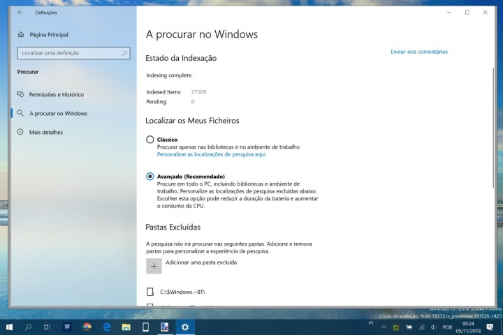 Windows 10 pesquisa Microsoft CPU disco