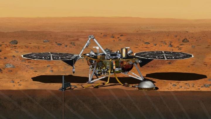Imagem ilustrativa da sonda InSight no Planeta Marte