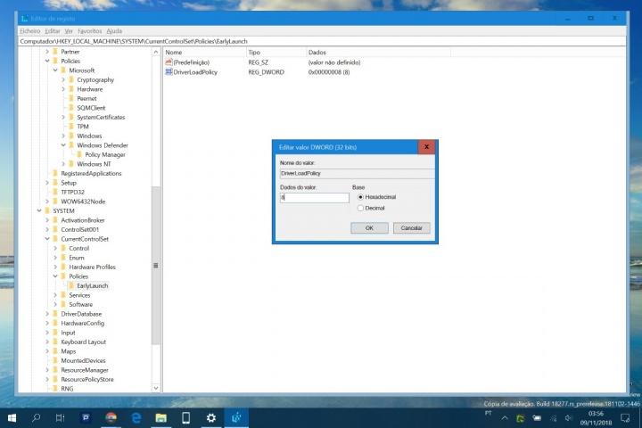 Windows 10 malware arranque proteção