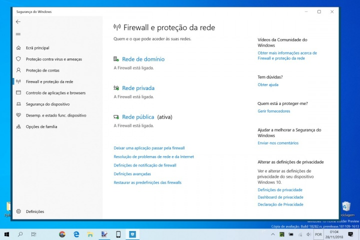 Windows 10 firewall restaurar predefinições dica