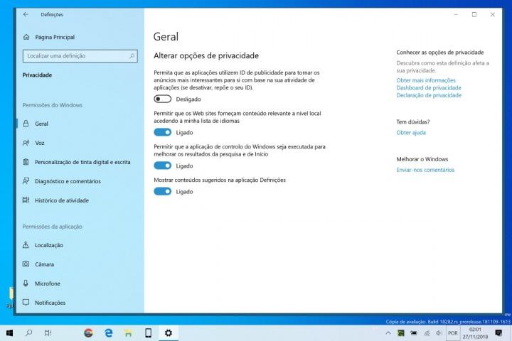 Windows 10 publicidade privacidade desligar dica
