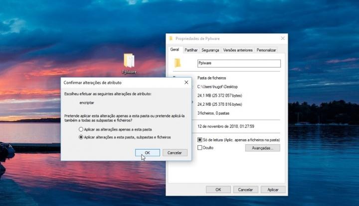 Windows 10 pasta ficheiro proteger palavra passe
