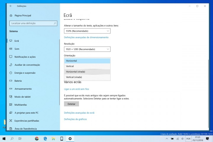 rodar ecrã computador Windows 10 dica