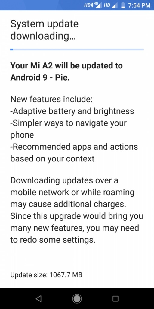 Update Xiaomi Mi A2 Android 9.0 Feet
