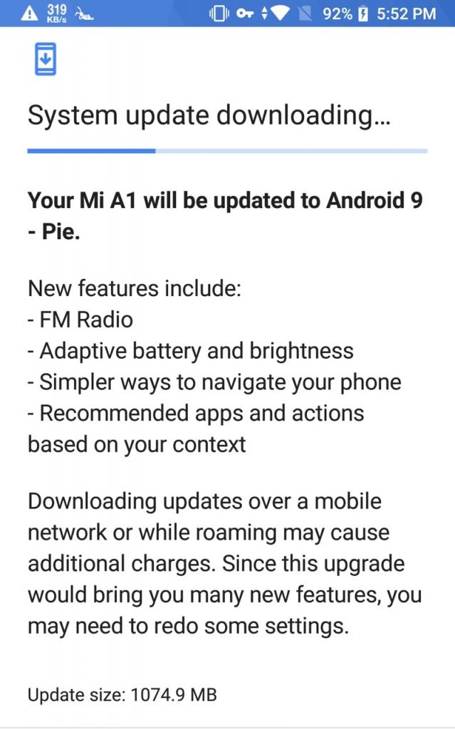 Xiaomi Mi A1 Android Pie disponibilizar