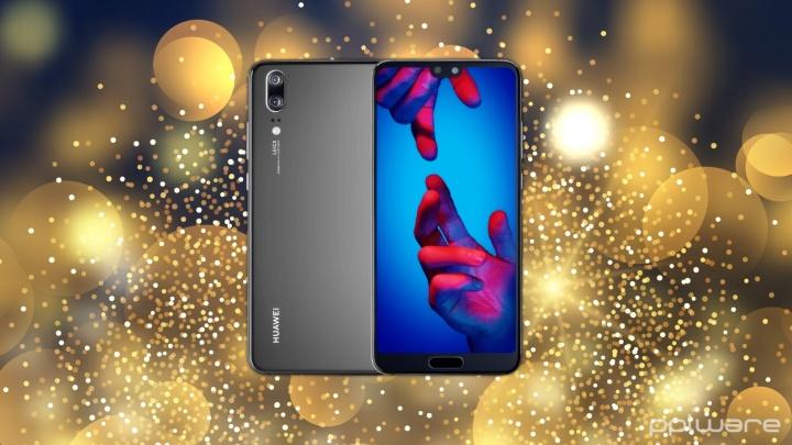 Passatempo de Natal: Ganhe um Huawei P20. Background - Freepik. Imagem do smartphone - Huawei