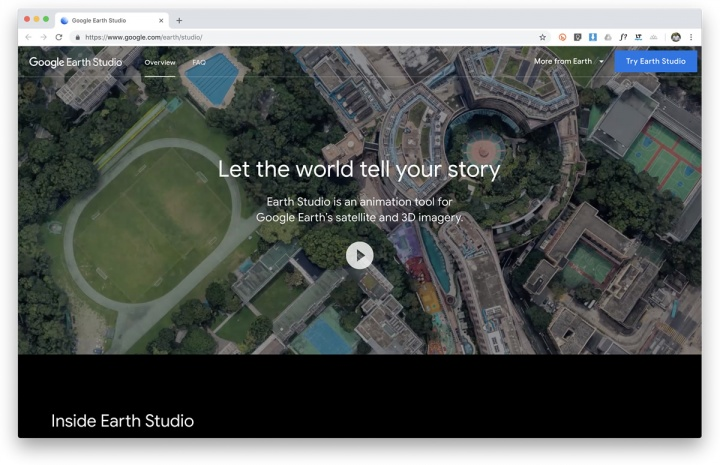 Imagem screenshot google earth studio