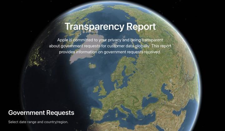 Imagem do site com relatório de transparência Apple