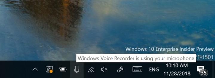 Windows 10 build 18290 microfone aplicações