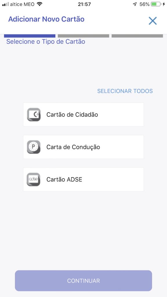 app que substitui o cartão de cidadão e a carta de condução