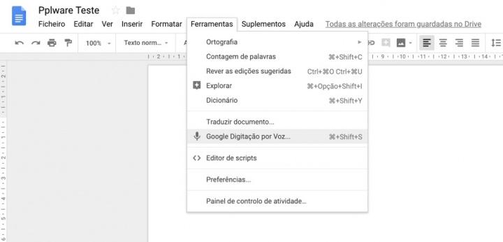 Google Digitação por Voz