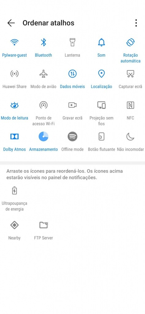 Android Definições Rápidas organizar ícones personalizar