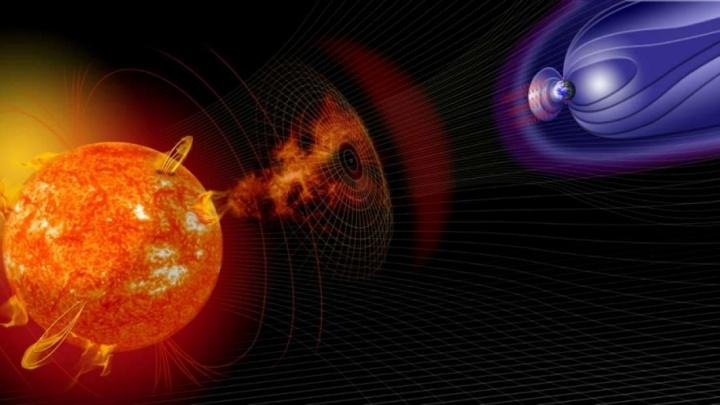 Imagem escudo do campo magnético da Terra