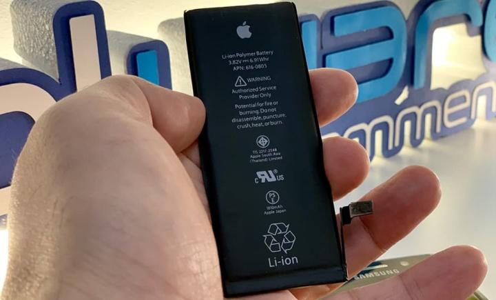 Imagem bateria Apple e Samsung