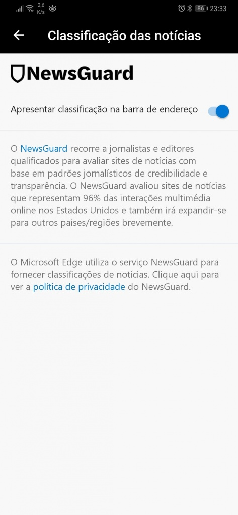 Edge Fake News NewsGuard browser Microsoft