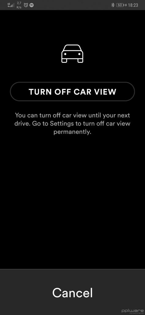 Spotify interface condução seguro