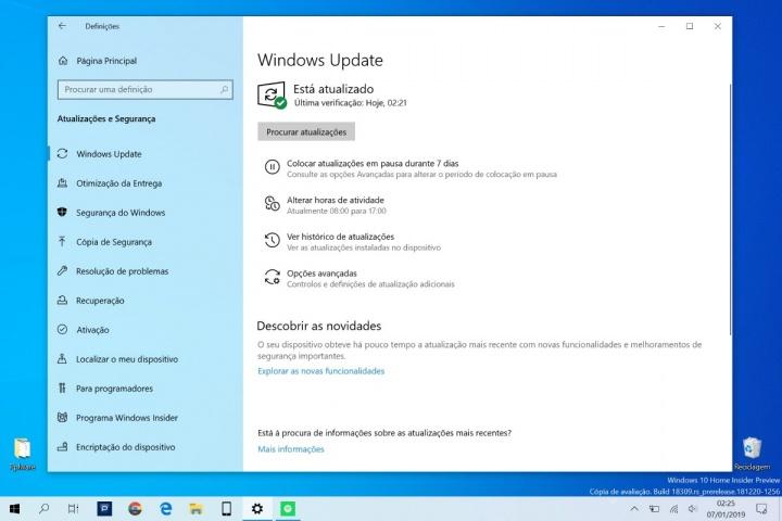 Windows 10 Home Microsoft atualizações pausa