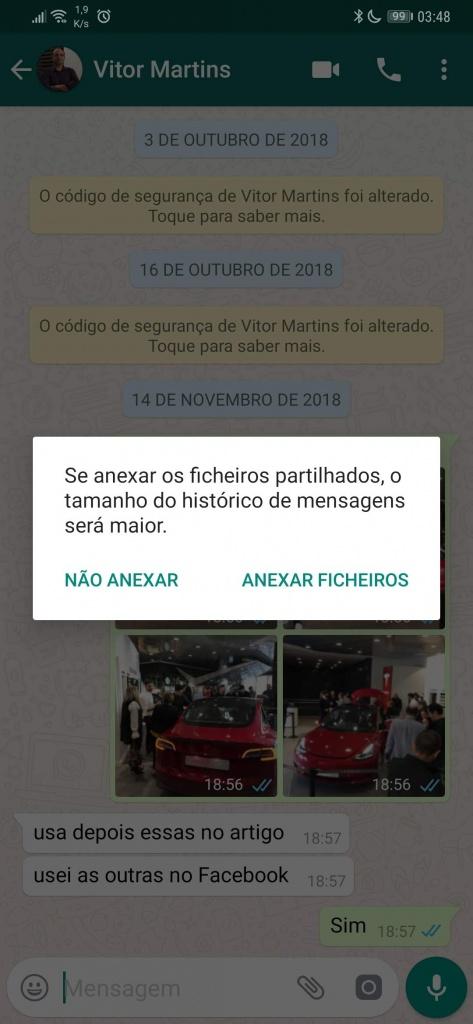 WhatsApp exportar conversas guardar dica