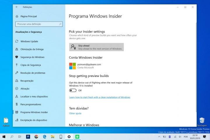 Windows 10 Microsoft Insiders novidades testar