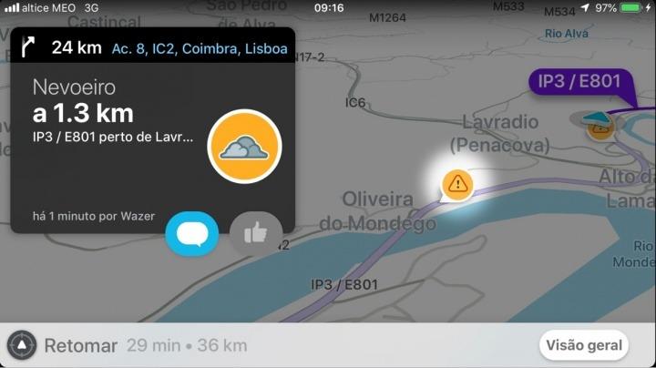Dica Waze: Alerte os outros condutores das condições meteorológicas