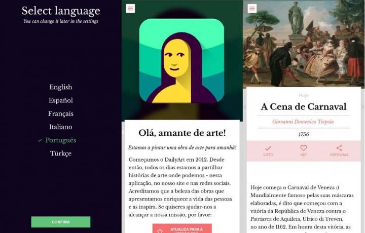 DailyArt aplicação Android iOS