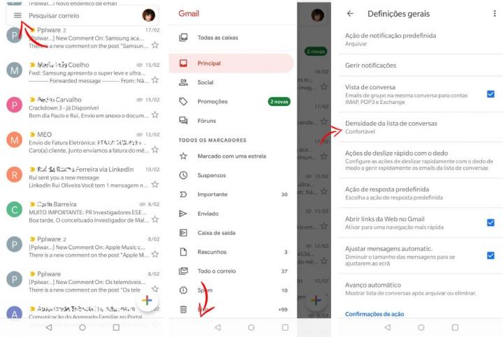 Google Gmail app aplicação Android