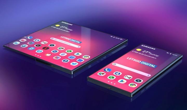 Imagem de conceito do que será o Smartphone Samsung dobrável