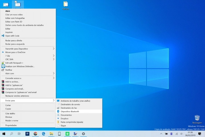Windows 10 Android Bluetooth ficheiro enviar