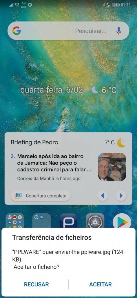 Windows 10 Android Bluetooth ficheiro enviar